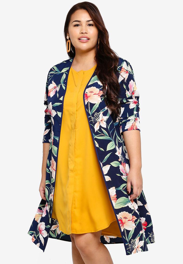 Plus Size Longline Kimono - Navy/Multi - ZALORA