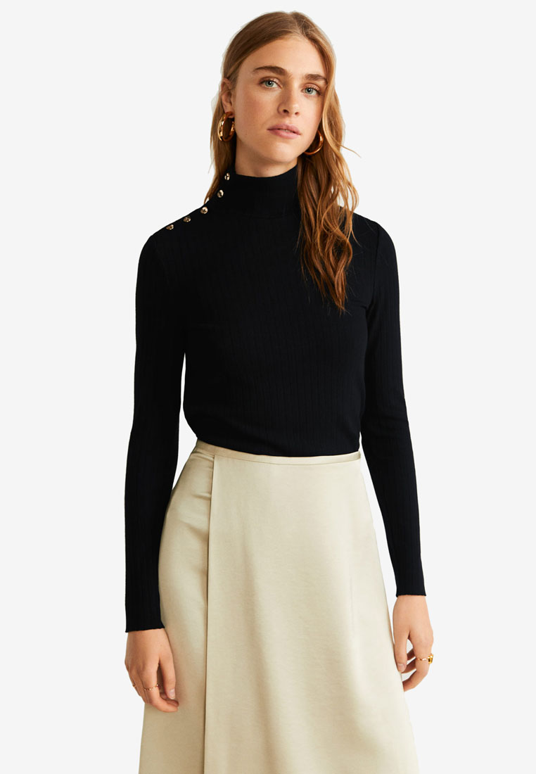 Buttoned Ribbed Top - Black - Mango