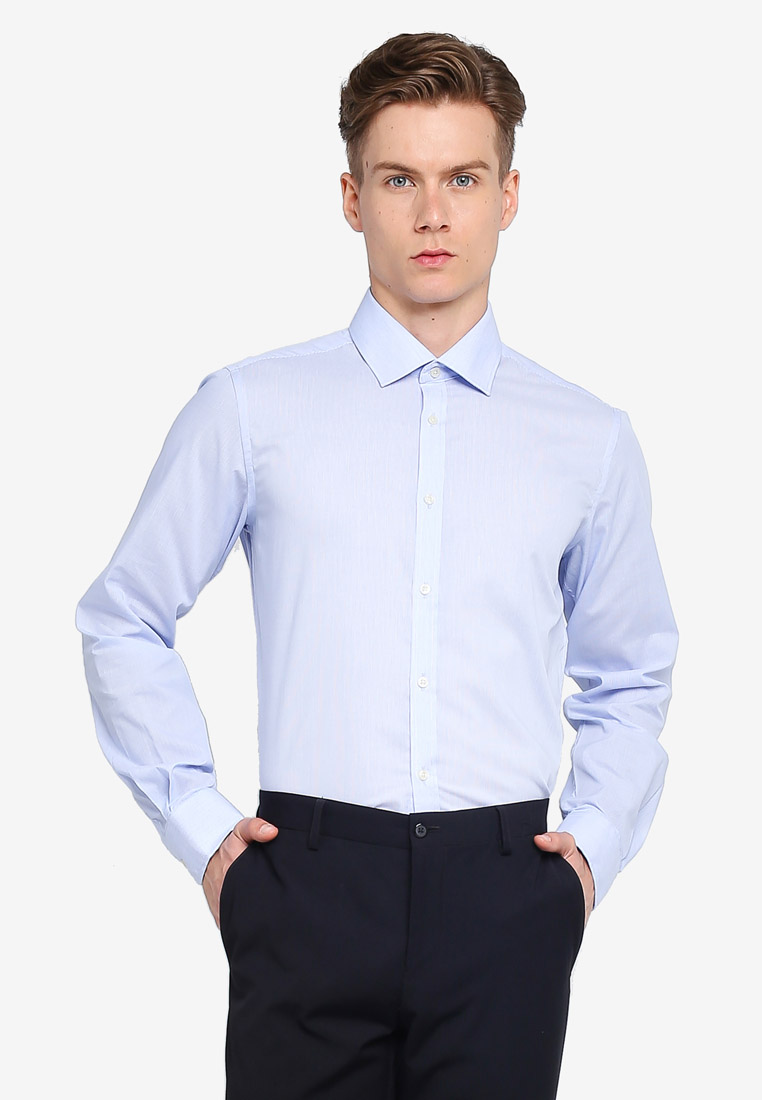 Micro Stripe Slim Fit Shirt - White-Striped Azure - OVS