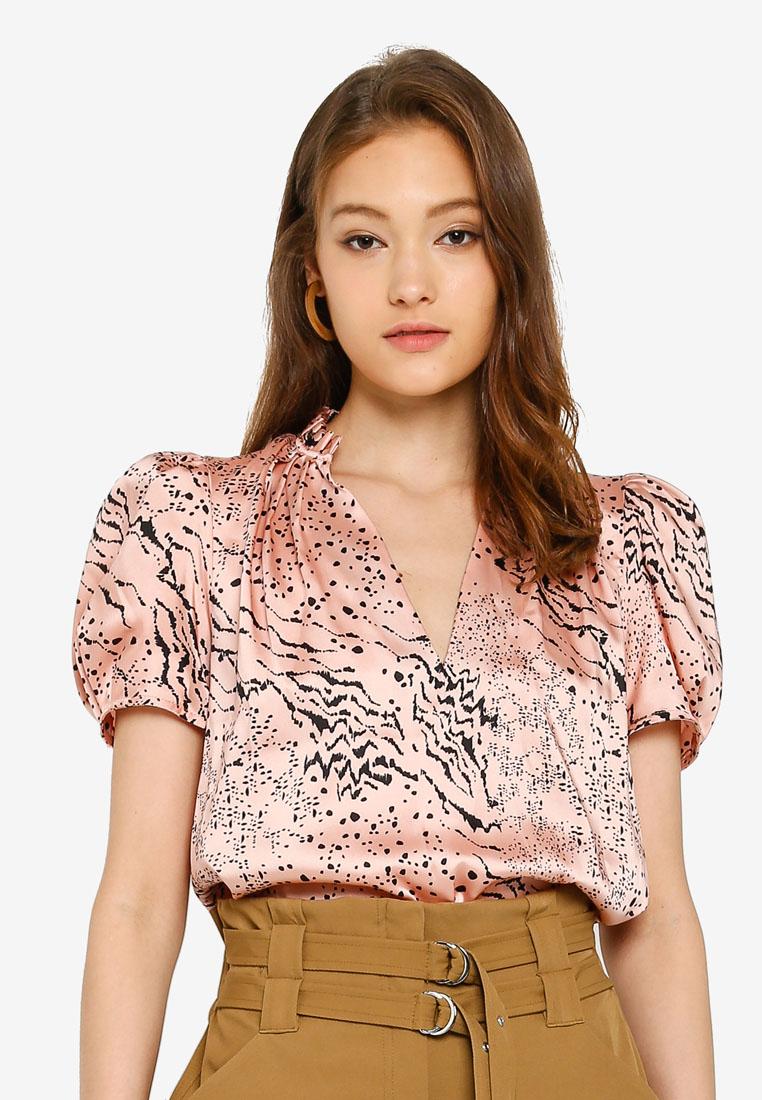 Short Sleeve Sara Shell Top - Pink Print - River Island