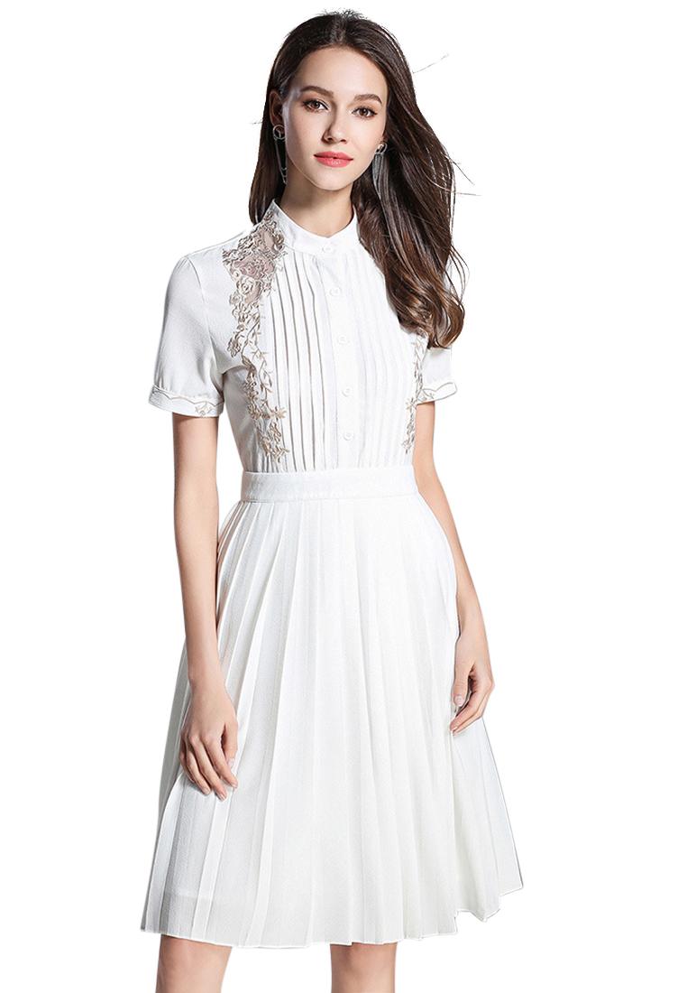 New White Pleated One Piece Dress CA071864W. - Sunnydaysweety