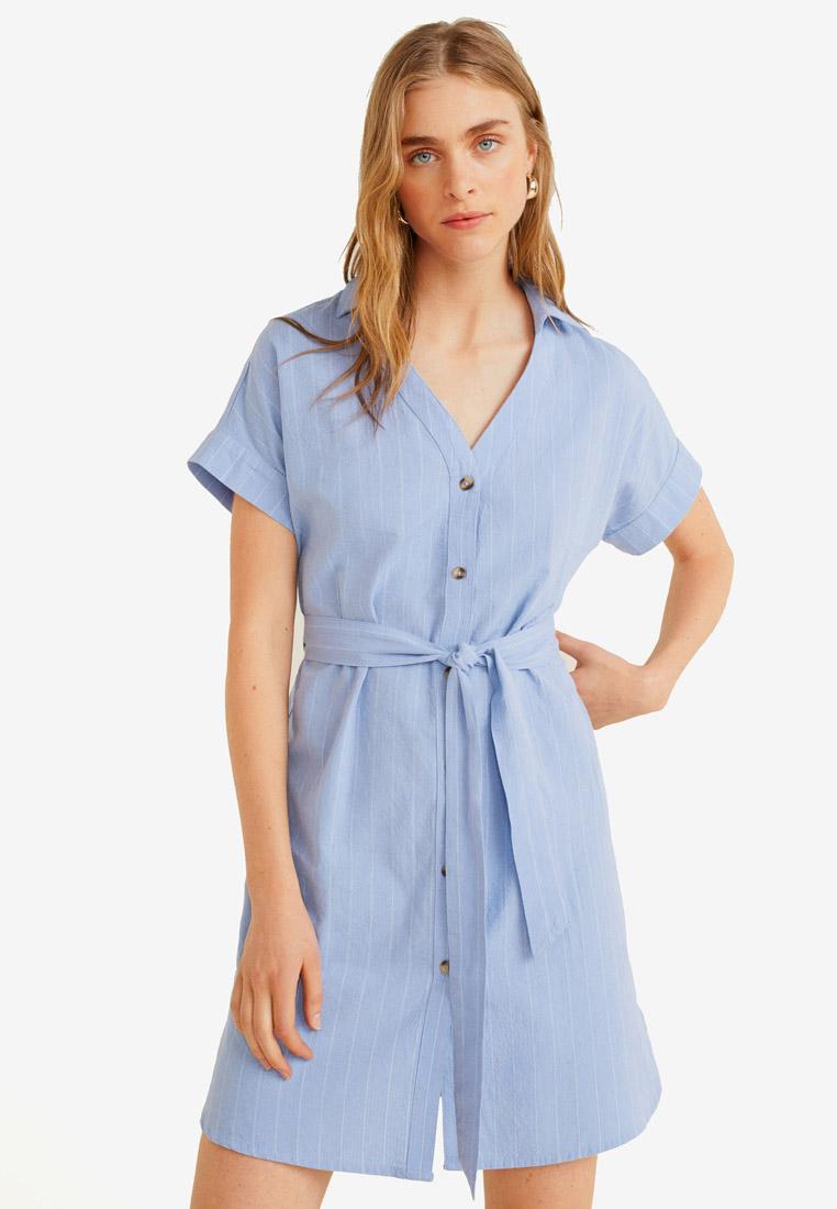 Cotton Shirt Dress - Light Pastel Blue - Mango