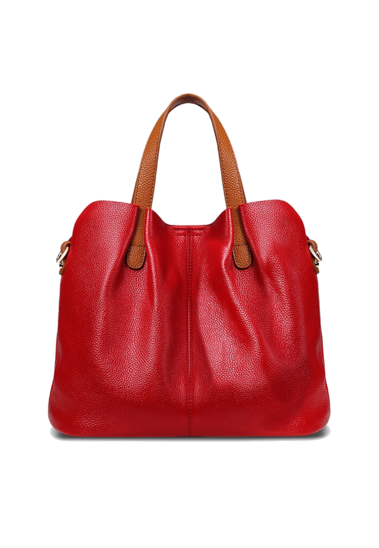 VANSA Pebbled Top Layer Cowhide Tote Bag VH156 - Red - Twenty Eight Shoes