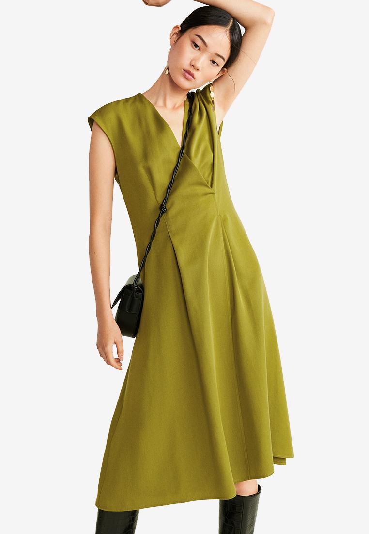 Dart Detail Dress - Green - Mango