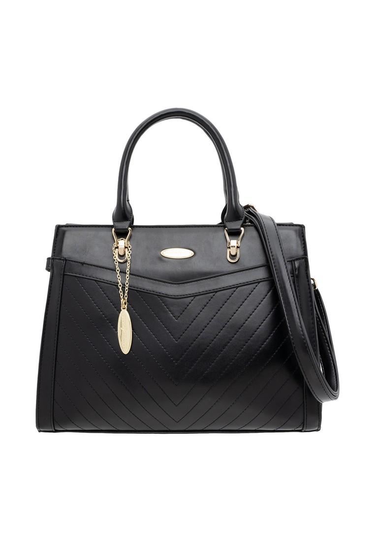 British Polo Fringe Leather Tote Bag (Large) - black
