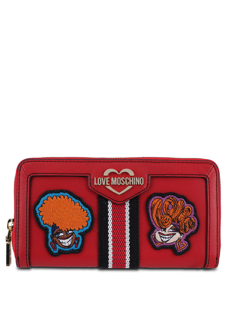 Zip Around Wallet with Decorative Patches - Red - Love Moschino
