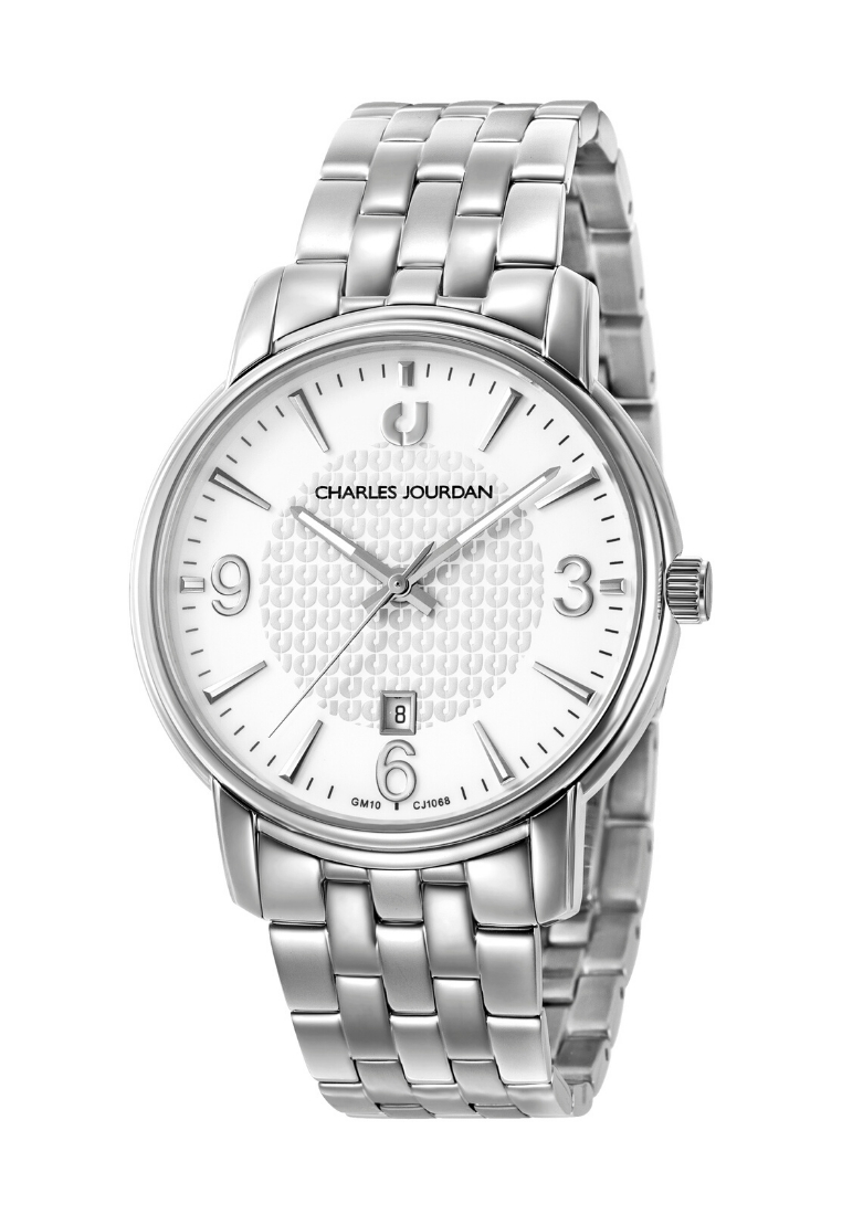 Charles Jourdan Men Watch Classic Quartz CJ1068-1312 (Free Gift) - silver - Men