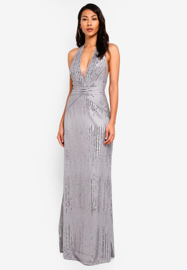 76a979e7bb48e Tfnc High Neck Pleated Maxi Bridesmaid Dress – DACC