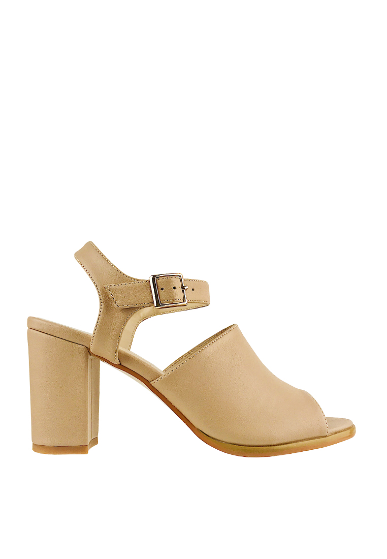 CO BLANC Slingback Heel Sandals - Light Brown