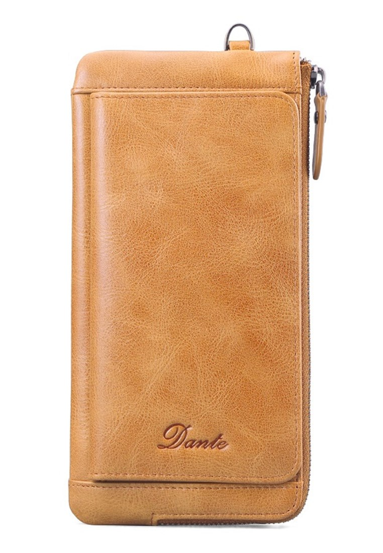 "Dante Premium Cowhide Leather Men""s Long Wallet 856 - Brown - Jackbox"
