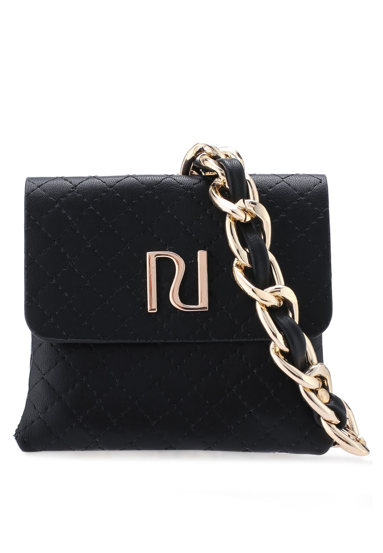 Liana Quilted Chain Purse - Black - River Island