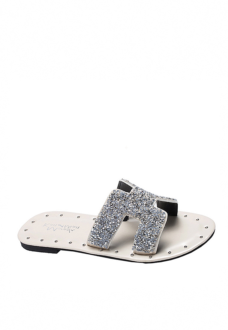 Sequins Flip Flops VS301A11 - Silver - Twenty Eight Shoes